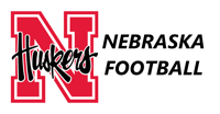 Husker Mascot logo on the left and the words Nebraska Football on the right.