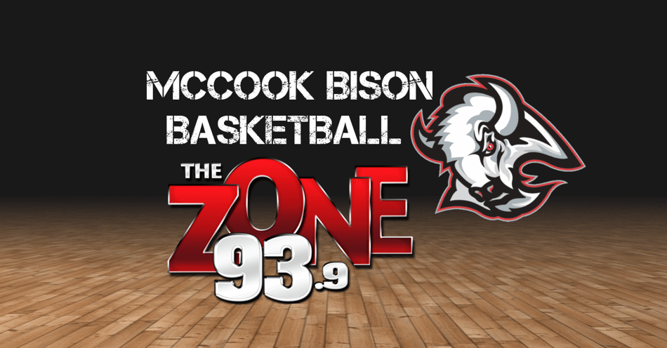 Basketball court floor in the background with the words McCook Bison Basketball on the top and the bison mascot below and to the right with the Zone 93.3 log on the left.